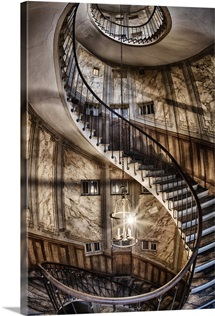 Spiral staircase in Paris, France