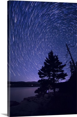 Star trails above the coast of Maine