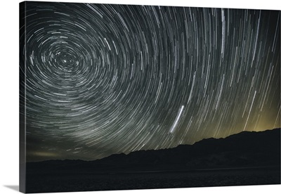 Star trails above the Devils Golf course in Death Valley National