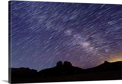 Star trails and Milky Way over Cathedral Rocks in Sedona, Arizon