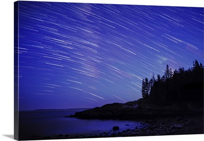Star trails over the coast of Maine