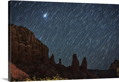 Star trails over the red rocks of Sedona, Arizona