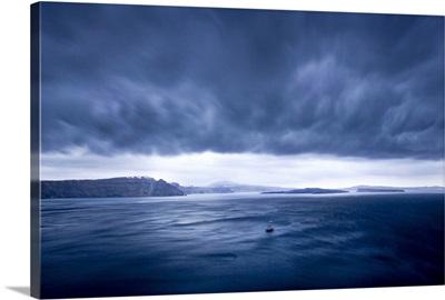 Storm brewing off the coast of Santorini, Greece