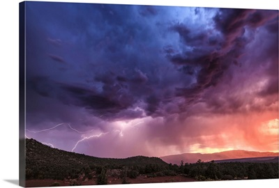 Storm with lightning over Sedona, Arizona