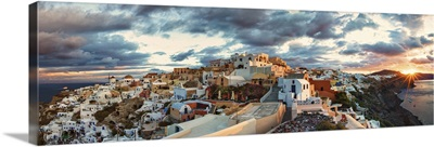 Sunrise at Oia, on the island of Santorini, Greece
