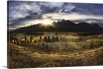 Sunrise behind the Grand Tetons, Jackson Hole, Wyoming