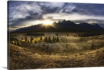 Sunrise behind the Grand Tetons, Jackson Hole, Wyoming