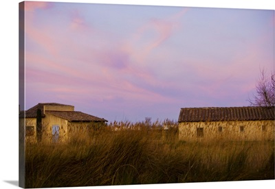 Sunrise over Country houses in Arles, France