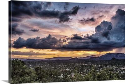 Sunset and storm over Sedona, Arizona