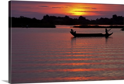 Sunset with fishing boats, Siem Reap, Cambodia