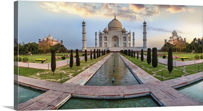 Taj Mahal Panorama At Sunrise In Agra, India