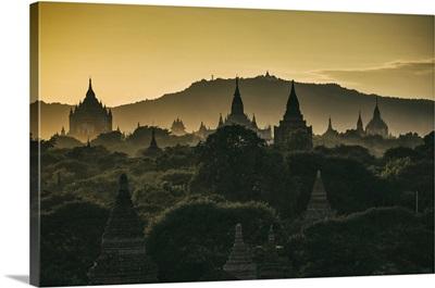 Temples at sunrise in Bagan, Burma