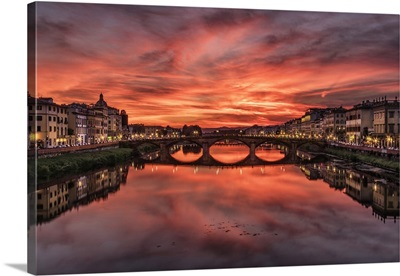 The Arno River at sunset in Florence, Italy