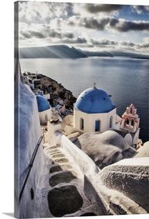 The blue churches of Oia Santorini