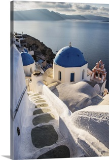 The blue churches of Oia Santorini, Greece