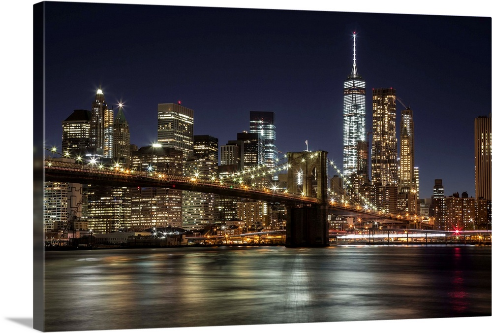 The Brooklyn Bridge And View Of NYC After Dark