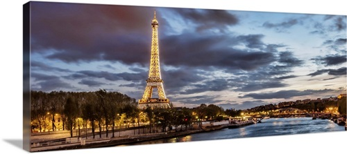 The Eiffel Tower And Seine River At Night In Paris Wall Art Canvas Prints Framed Prints Wall Peels Great Big Canvas
