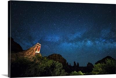 The Milky Way above the Chapel of the Holy Cross in Sedona, Arizona