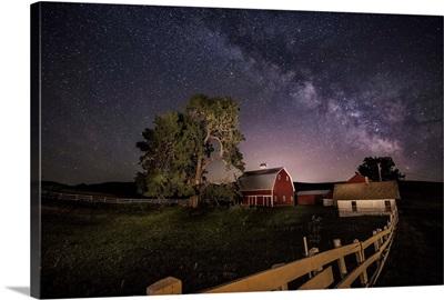 The Milky Way over a farm in the Palouse, Washington