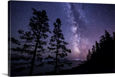 The Milky Way over the coast in Acadia National Park in Maine