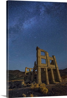 The Milky Way over the ghost town in Rhyolite, Nevada