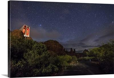 The night sky over the Chapel in Sedona, Arizona