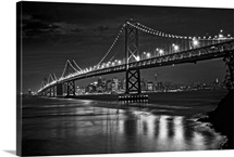 The Oakland Bay Bridge after dark, San Francisco, California