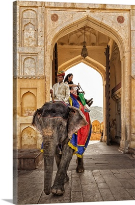 The Painted elephants of Amber Fort in Jaipur, India