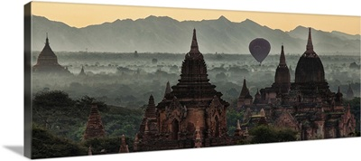 The temples and hot air balloon at sunrise in Bagan, Burma