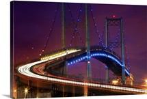 The Vincent Thomas Bridge after dark, Los Angeles, California