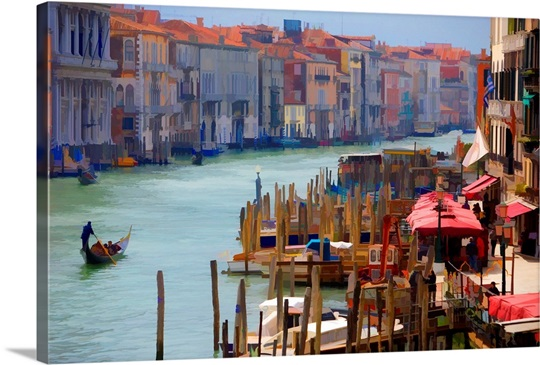 View of Gondolas from the Rialto Bridge, Venice, Italy