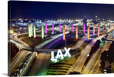 View with neon lights from above LAX Airport, Los Angeles, California