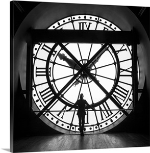 Woman By The Clock Inside The Musee D Orsay In Paris Wall