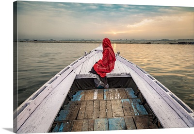 Woman On Longtail Boat On The Ganges River, Varinasi, India