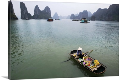 Woman selling fruit by her floating village, Halong Bay, Vietnam