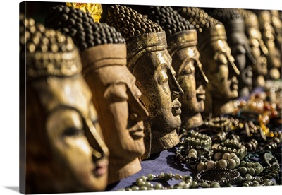 Wooden buddha heads in Inle Lake, Burma
