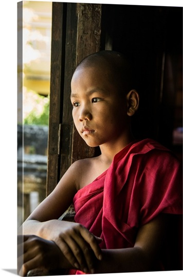 Young Burmese monk in his monastery in Bagan