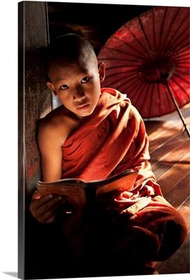 Young monk boy reading in his monastery, Yangon, Burma