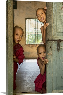 Young monks in their monastery in Mandalay, Burma