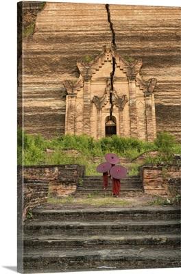 Young monks walking up Mingun Temple in Mandalay, Burma