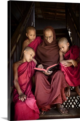 Young monks with their monk master, Bagan, Burma