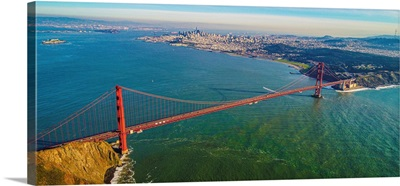 Aerial View Of The Iconic Golden Gate Bridge Near San Francisco