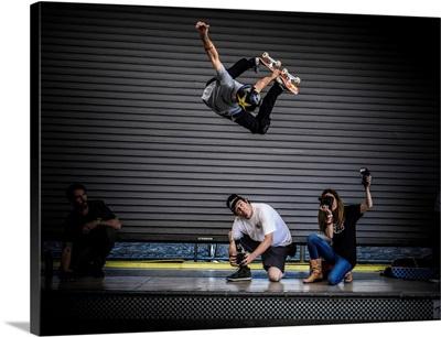 Legendary Skateboarder Bucky Lasek, Big Method Air At The Vans Skatepark