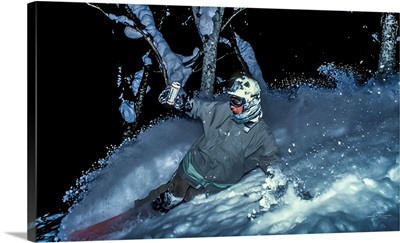 Vintage Photo Of Mike Ranquet As He Rides Some Night Powder