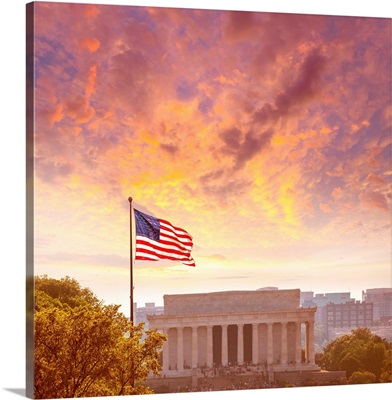 Abraham Lincoln Memorial building at sunset in Washington DC