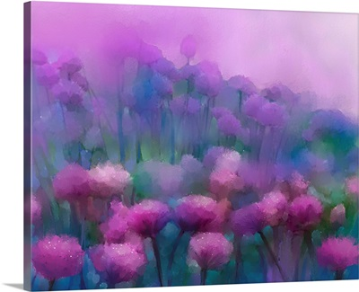 Abstract flowers oil painting