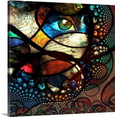Abstract Image with text and human eye