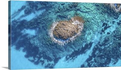 Aerial Drone Views Of A Beautiful Protected Mediterranean Cove In Cala Mondrago Mallorca