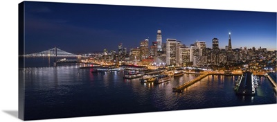 Aerial Panoramic View Of San Francisco At Dusk With Holiday City Lights, California