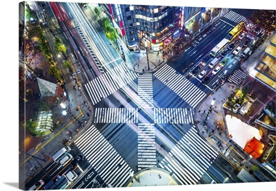Aerial View Of Panoramic Urban City With Crosstown Traffic In Ginza, Tokyo, Japan